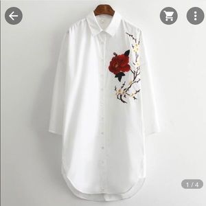 Tops - LS button down with floral embroidery detail small